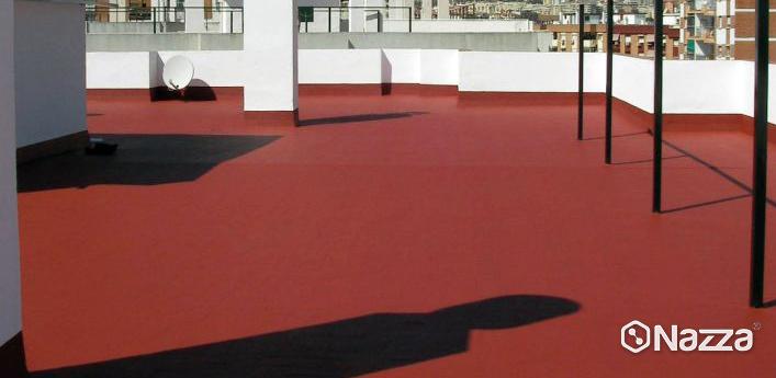 terraza completamente impermeabilizada con poliurea rojo teja