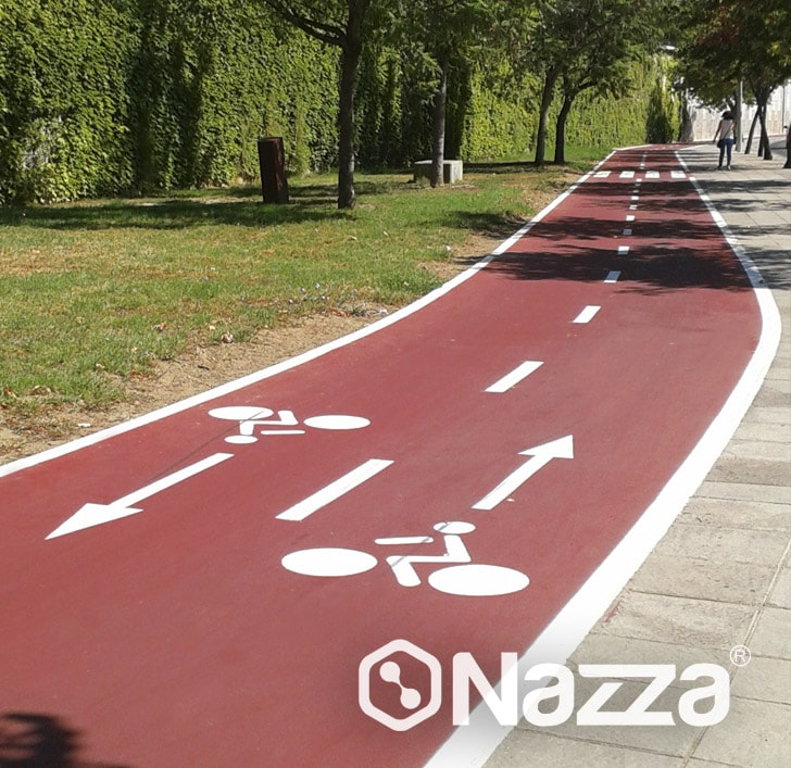 Pintura para carril bici rojo