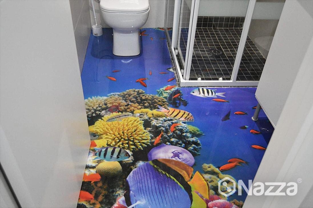 Suelo de resina 3D cuarto de baño