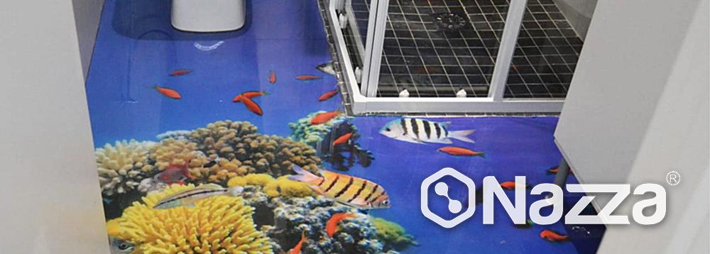 Suelo 3D con vinilo adhesivo efecto océano con porcelanato líquido Nazza